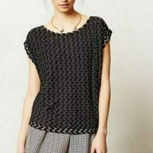 Anthro Postmark black white woven stretch top